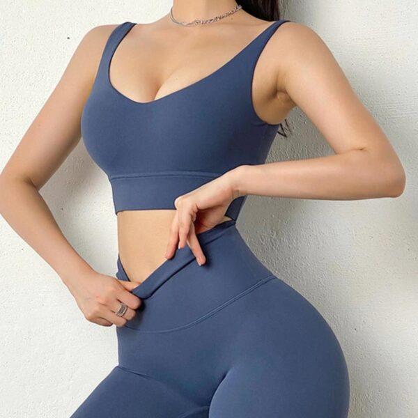 Fitness Set Αθλητικό Κολάν Ψηλόμεσο & Μπουστάκι Blue