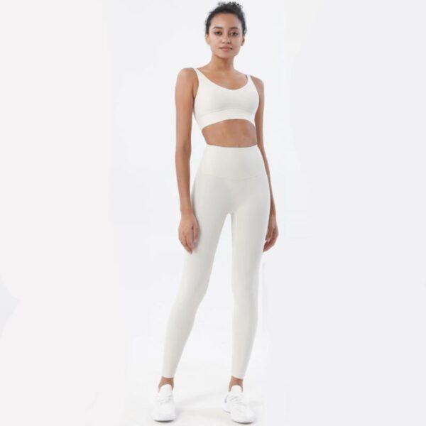 Fitness Set Αθλητικό Κολάν Ψηλόμεσο & Μπουστάκι Crystal White