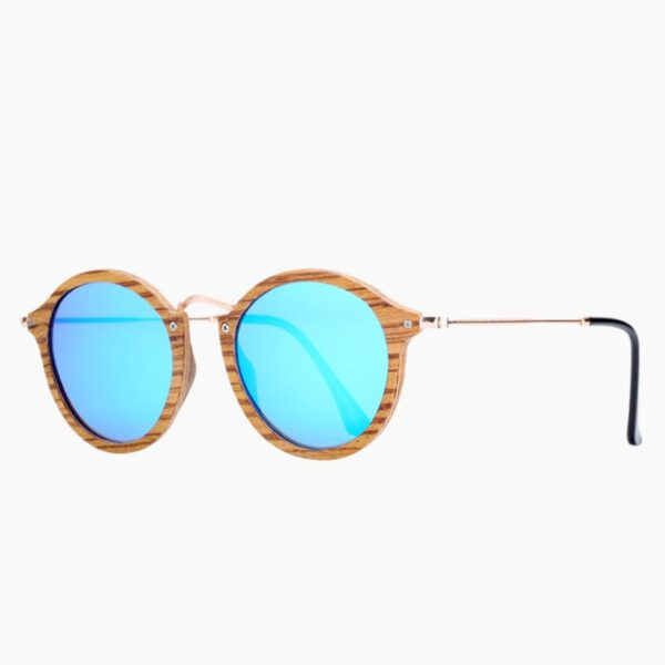 Γυαλιά Ηλίου Bamboo Vintage Round Zebrawood με Sky Blue Polarized Φακό (AC7105)
