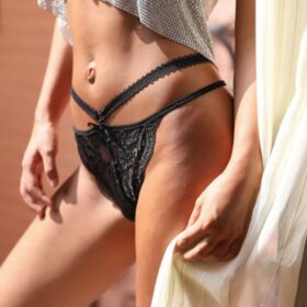 Brazil Εσώρουχο με Δαντέλα Μαύρο - One Size (L2042)