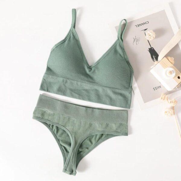 Σετ Εσώρουχα Fitness με Ψηλόμεσο String & Μπουστάκι με Ενίσχυση Πράσινο (L6002)