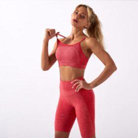Fitness Set Αθλητικό Workout Σορτσάκι Ψηλόμεσο & Μπουστάκι Red (A5022)