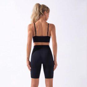 Fitness Set Αθλητικό Workout Σορτσάκι Ψηλόμεσο & Μπουστάκι Black (A5022)