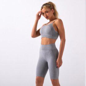 Fitness Set Αθλητικό Workout Σορτσάκι Ψηλόμεσο & Μπουστάκι Grey (A5022)
