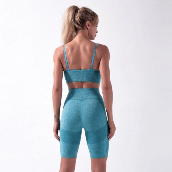 Fitness Set Αθλητικό Workout Σορτσάκι Ψηλόμεσο & Μπουστάκι Blue (A5022)