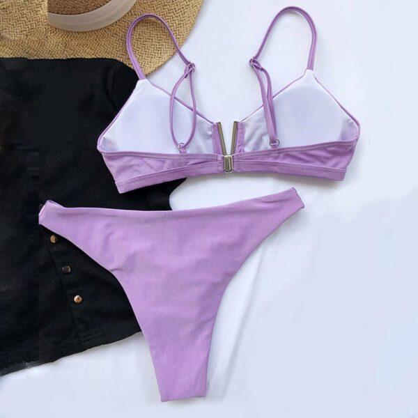Μαγιό V Sexy Shine Purple με Ρυθμιζόμενες Τιράντες (OE1068)