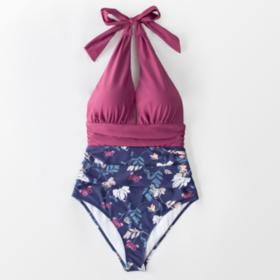 Μαγιό Ολόσωμο Εξώπλατο Purple/Floral - Paradise Collection (ADI7005)