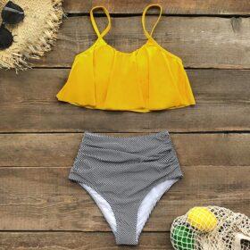 Μαγιό Ψηλόμεσο Vintage Yellow με Ρυθμιζόμενες Τιράντες - Paradise Collection (321-240045)