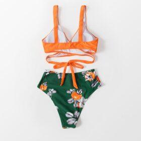 Μαγιό Μπικίνι Ψηλόμεσο Orange/Floral Green - Paradise Collection (ADB5001)