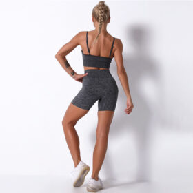 Fitness Set Αθλητικό Workout Σορτσάκι Biker Ψηλόμεσο & Μπουστάκι Grey Pale (A9186)