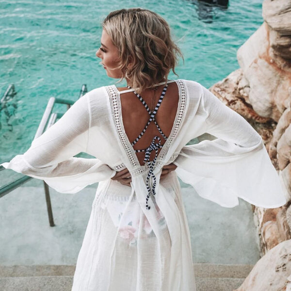 Cover-Up Bohemian White Long - One Size (FC50137W)Cover-Up Bohemian White Long - One Size (FC50137W)