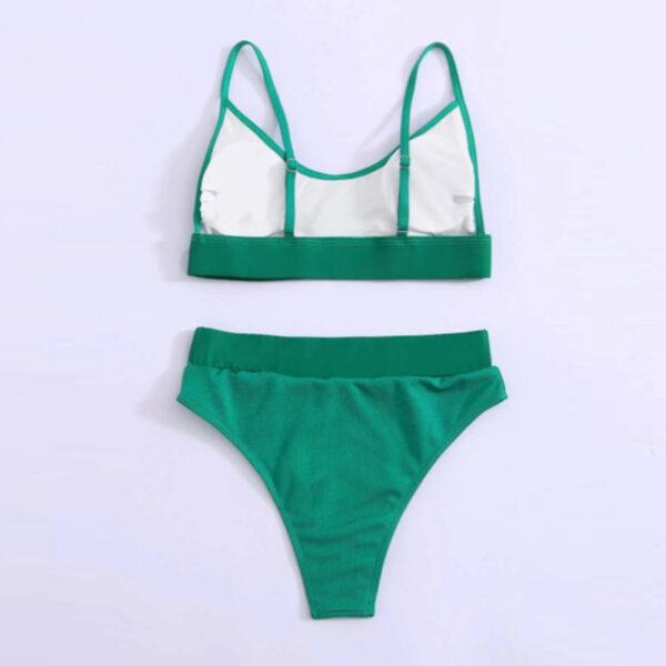Μαγιό Ψηλόμεσο Tirquaz Green με Φαρδιά Ζώνη & Ρυθμιζόμενες Τιράντες (OE5010)