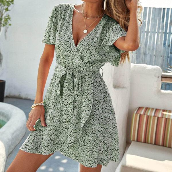 Φόρεμα Vintage Floral Green (F0002)