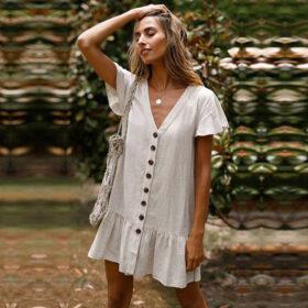 Φόρεμα Vintage White με Μανίκια (F0004)