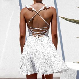 Φόρεμα Vintage White Dots Εξώπλατο (F0005)