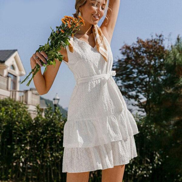 Φόρεμα Vintage White με Ζώνη & Κεντήματα (F0006)