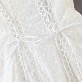Φόρεμα Vintage White με Μανίκια & Κορδόνια (F0007)