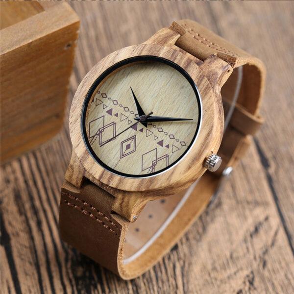 Ρολόι Bamboo & Leather Strap Rhombus Unisex