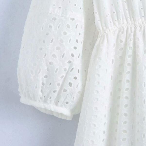 Φόρεμα Vintage White Long με Μανίκια & Κεντήματα (F0008)