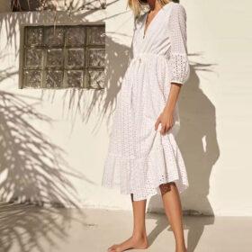 Φόρεμα Vintage White Long με Μανίκια & Κεντήματα (F0008)Φόρεμα Vintage White Long με Μανίκια & Κεντήματα (F0008)