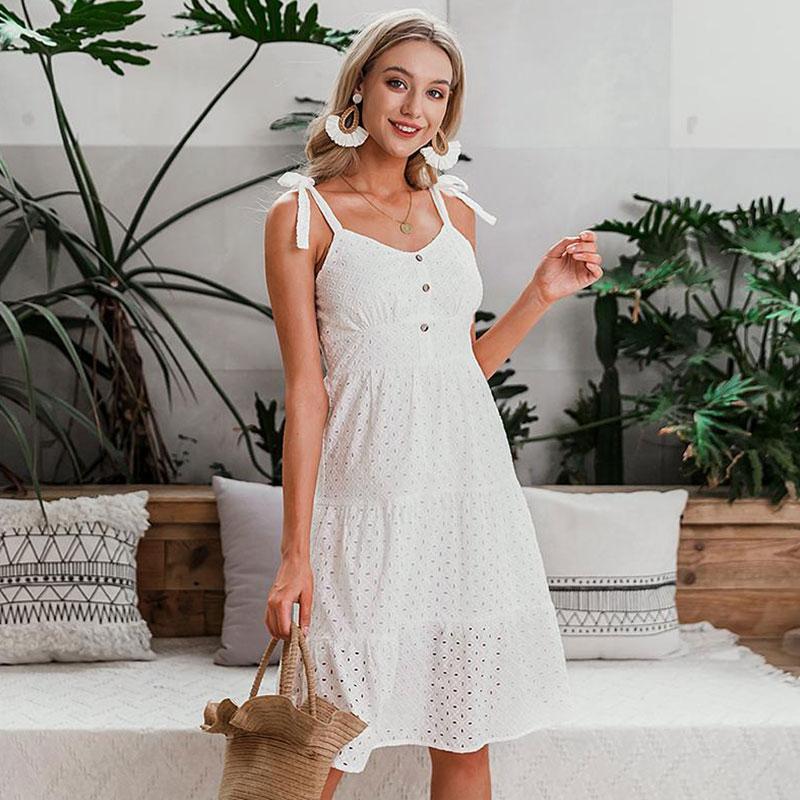 Φόρεμα Vintage White με Κεντήματα (F0009)