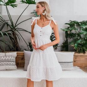 Φόρεμα Vintage White με Κεντήματα (F0009)Φόρεμα Vintage White με Κεντήματα (F0009)