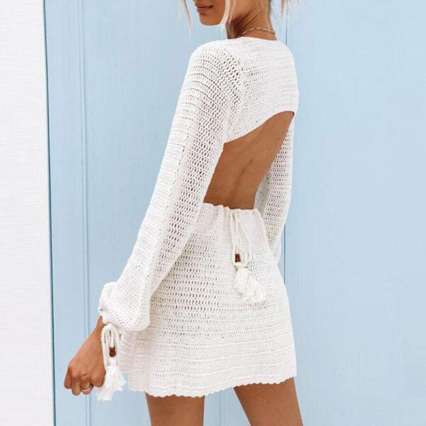 Φόρεμα Vintage White Εξώπλατο Κεντιτό με Μανίκια (F0011)