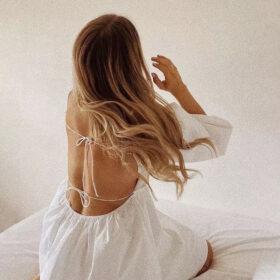 Φόρεμα Vintage White Εξώπλατο με Μανίκια (F0012)