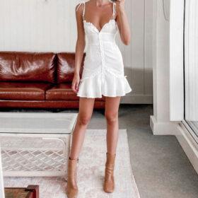 Φόρεμα Vintage White με Κουμπιά & Τιράντες (F0014)
