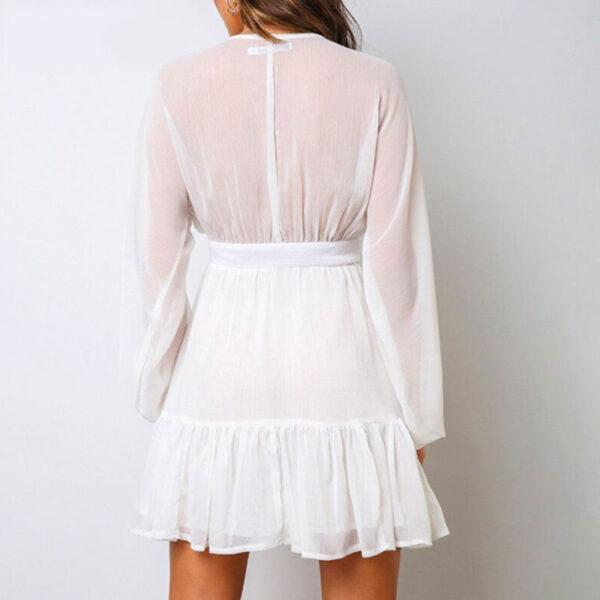 Φόρεμα Vintage White με Κουμπιά & Μανίκια (F0015)