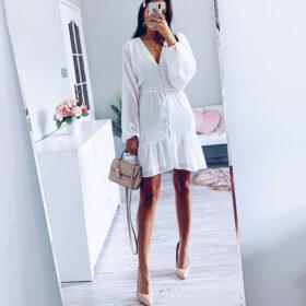 Φόρεμα Vintage White με Κουμπιά & Μανίκια (F0015)Φόρεμα Vintage White με Κουμπιά & Μανίκια (F0015)