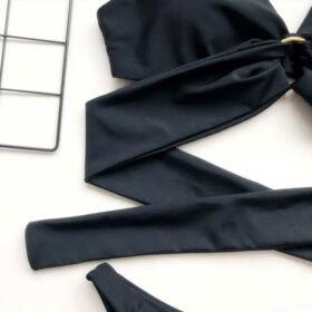Μαγιό Μπικίνι Circle Black με Δέσιμο στην Πλάτη (OE1081)