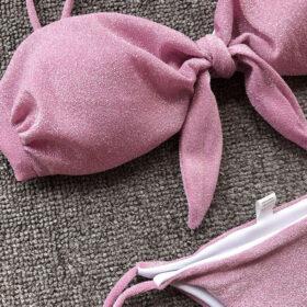 Μαγιό Brazil Glitter Pink με Δέσιμο στην Πλάτη (OE2004)