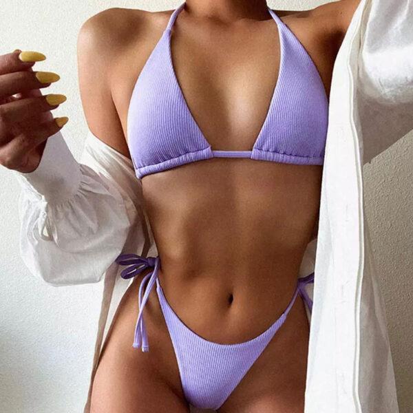 Μαγιό Brazil Light Purple με Κορδόνια (OE1100)