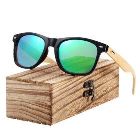 Γυαλιά Ηλίου Bamboo Wayfarer Style Μαύρα με Chameleon Φακό Unisex (AC4175)
