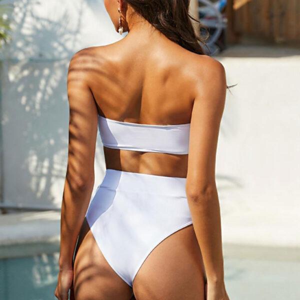Μαγιό Ψηλόμεσο Sexy Λευκό & Ρυθμιζόμενες Τιράντες (OE5013)