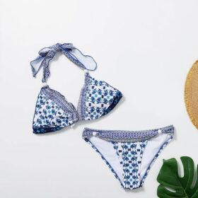 Μαγιό Μπικίνι Τριγωνάκι Floral Blue White (OE1105)