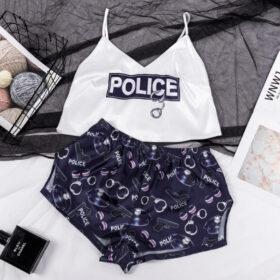 Σετ Πυτζάμα Ψηλόμεσο Σορτσάκι & Τιραντάκι Police Black/White