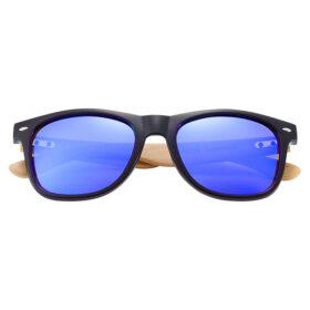 Γυαλιά Ηλίου Bamboo Wayfarer Style Μαύρα με Dark Blue Φακό Unisex (AC4175)