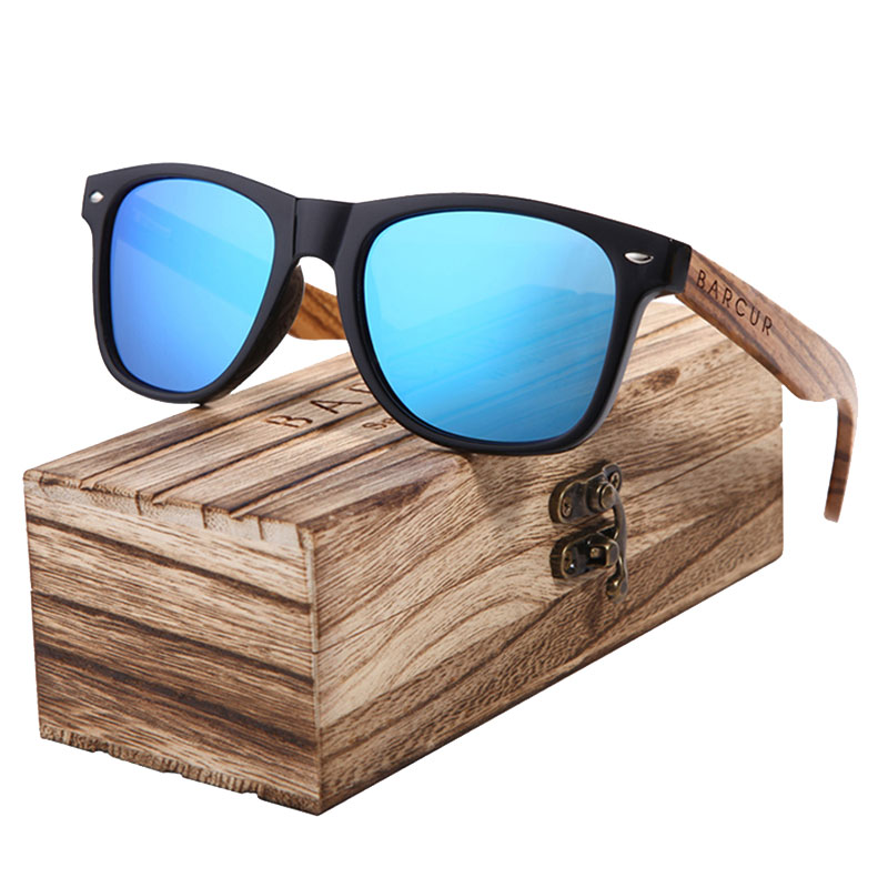 Γυαλιά Ηλίου Wayfarer Style με Μπλε Φακό & Ξύλο Καρυδιάς (AC8720)