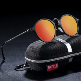Γυαλιά Ηλίου Round Stainless Black Σκελετός & Orange Φακός Polarized (A8575)