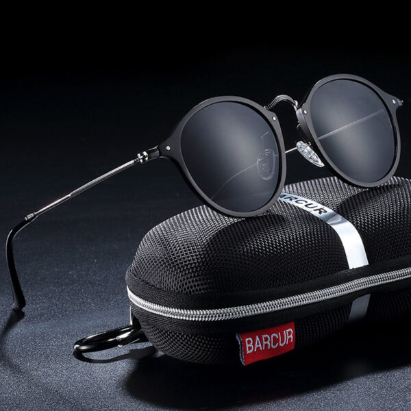 Γυαλιά Ηλίου Round Stainless Black Σκελετός & Black Φακός Polarized (A8575)