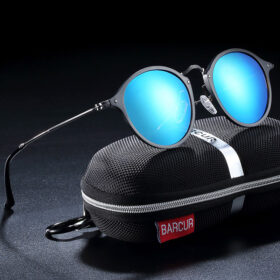 Γυαλιά Ηλίου Round Stainless Black Σκελετός & Sky Blue Φακός Polarized (A8575)