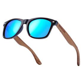 Γυαλιά Ηλίου Walnut Wayfarer Style Μαύρα Με Sky Blue Polarized Φακό (AC8700)