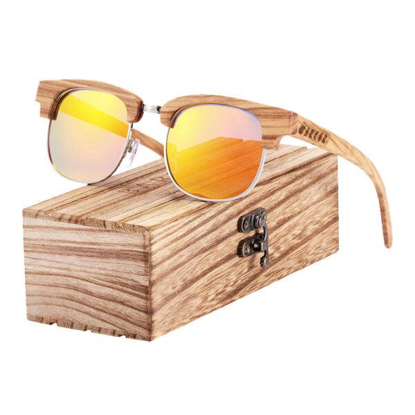 Γυαλιά Ηλίου Zebrawood Clubmaster Style Με Orange Polarized Φακό (AC8101)