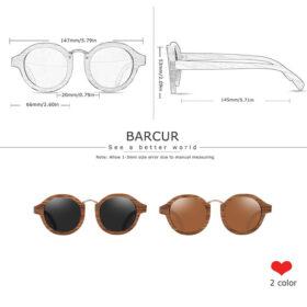 Γυαλιά Ηλίου Zebrawood Round Style Με Grey Polarized Φακό (AC7104)