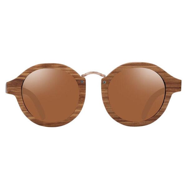Γυαλιά Ηλίου Zebrawood Round Style Με Tea Polarized Φακό (AC7104)