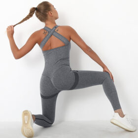 Fitness Ολόσωμη Αθλητική Φόρμα με Φαρδιές Τιράντες Grey Pale (A6205)