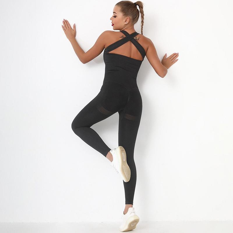 Fitness Ολόσωμη Αθλητική Φόρμα με Φαρδιές Τιράντες Μαύρη (A6205)