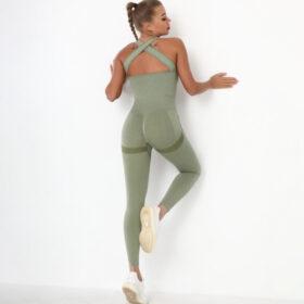 Fitness Ολόσωμη Αθλητική Φόρμα με Φαρδιές Τιράντες Green Pale (A6205)